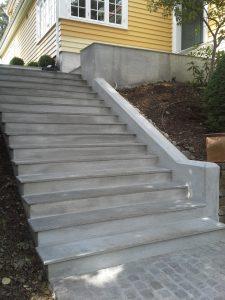 Støpt ny trapp, belagt med skiferheller, Smestad, Oslo