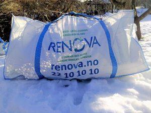 RENOVA - RETT I SEKKEN Dette er vår store isekk, som måler 2,2 x 1,0 x 1,0 meter Den tar inntil 1.000 kilo